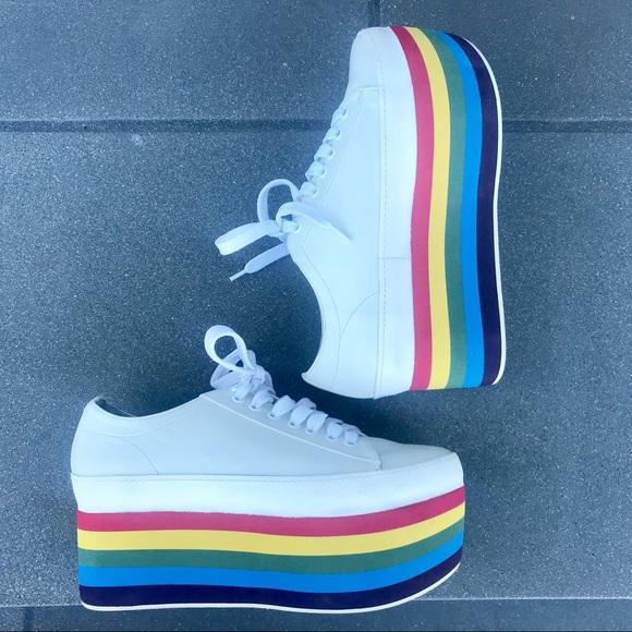 8ea52e7f290 Jeffrey Campbell Shoes - JEFFREY CAMPBELL rainbow platform SNEAKERS white